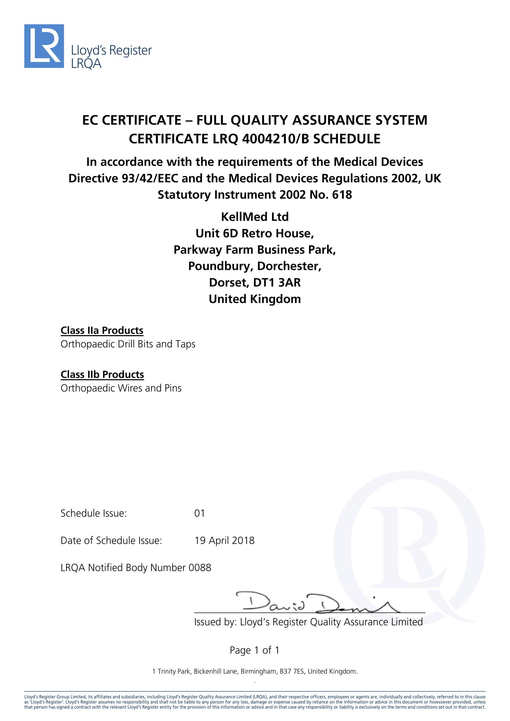 Quality Assurance Certification Kellmed Ltd